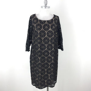 Jessica Howard 16W Black Lace Sheath dress 3/4 slv